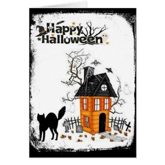 Cartão assombrado feliz da casa do gato preto do