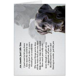 Cartão Auntie Poema Preto Labrador