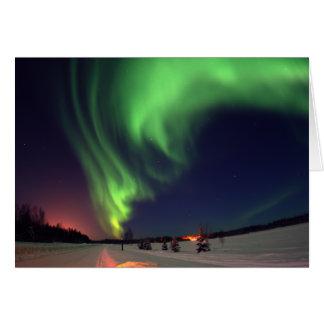 Cartão Aurora boreal no lago bear