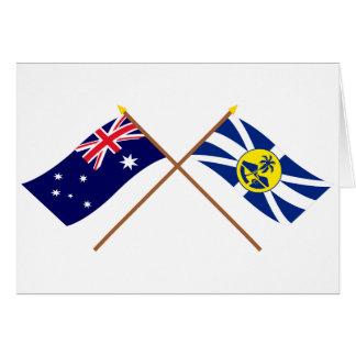 Cartão Austrália e senhor Howe Ilha Crossed Bandeira