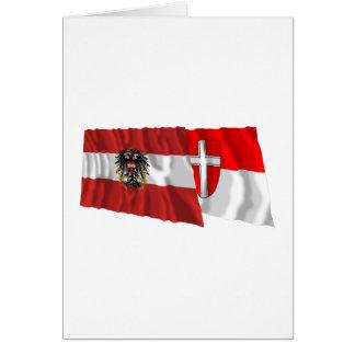 Cartão Áustria & bandeiras de ondulação de Wien