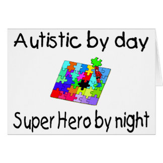 Cartão Autístico pelo super-herói do dia em a noite