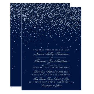 Cartão Azuis marinhos & casamento de prata Glam dos