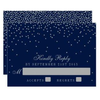 Cartão Azuis marinhos & confetes de prata Glam que