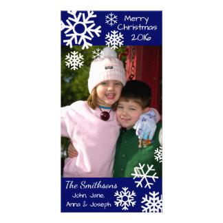 Cartão Azuis marinhos múltiplos datado do Natal dos