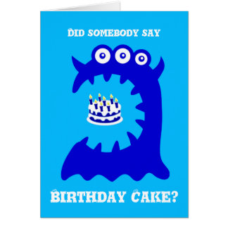 Cartão azul bonito do aniversário do monstro