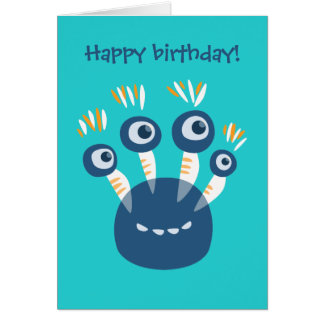 Cartão Azul bonito quatro Eyed aniversário do monstro dos