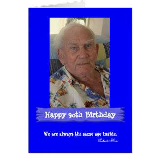 Cartão Azul brilhante Customisable do aniversário da foto