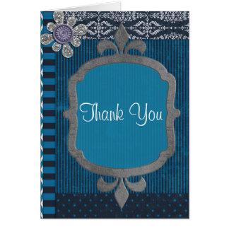 Cartão Azul clássico do vintage com aniversário dos