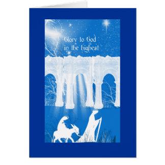 Cartão Azul cristão do cumprimento