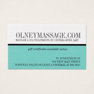 cartão azul da massagem e do contato dos termas