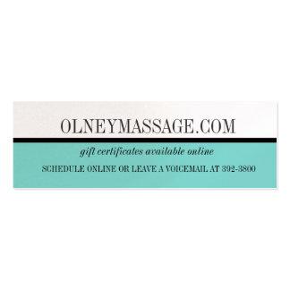 cartão azul da massagem e do contato dos termas cartão de visita skinny