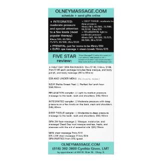 cartão azul da massagem e do folheto dos termas 10.16 x 22.86cm panfleto
