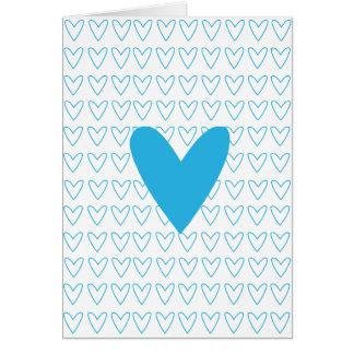 cartão azul do amor do coração