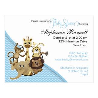 Cartão azul do convite de BabyShower do safari de