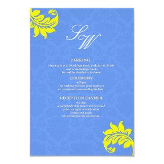 Cartão azul e amarelo do cerco do casamento tema convite 8.89 x 12.7cm