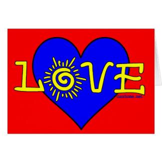 Cartão azul grande do coração e do amor