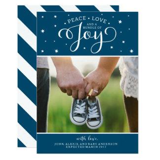 Cartão azul marinho do anúncio da gravidez do convite 12.7 x 17.78cm