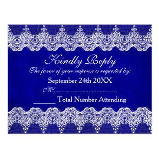 Cartão azul personalizado real do laço do cobalto
