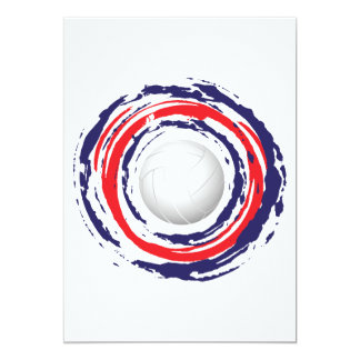 Cartão Azul vermelho do voleibol e branco 1