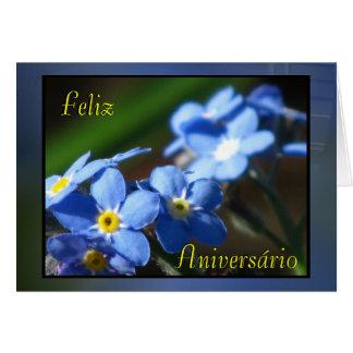 Cartão - azules de Feliz Aniversário - de Flores