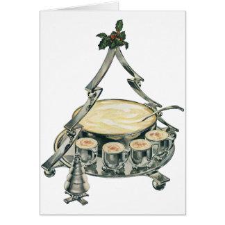 Cartão Bacia de perfurador da árvore do natal vintage com