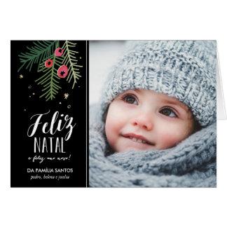 Cartão Bagas Vermelhas | Feliz natal
