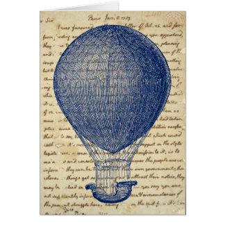 Cartão Balão de ar quente na nota da escrita do vintage