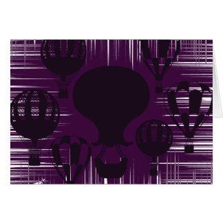 Cartão Balões de ar quente afligidos do vintage do Grunge