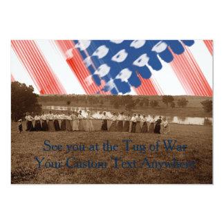 Cartão bandeira americana da Reboque-O-Guerra do conflito
