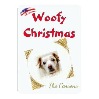 Cartão Bandeira americana dos EUA do Natal de Woofy