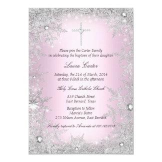 Cartão Baptismo/batismo de cristal de prata cor-de-rosa