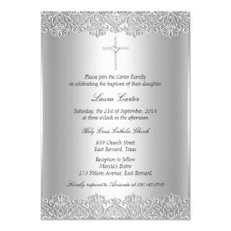 Cartão Baptismo do laço & da cruz/convite do batismo