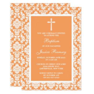 Cartão Baptismo ou batismo da cruz do damasco do pêssego