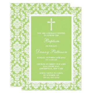 Cartão Baptismo ou batismo verde da cruz do damasco