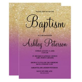 Cartão Baptismo roxo do ombre da orquídea do brilho do