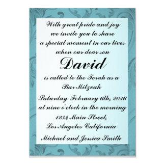 Cartão Bar azul Mitzvah do quadro das flores/convite do