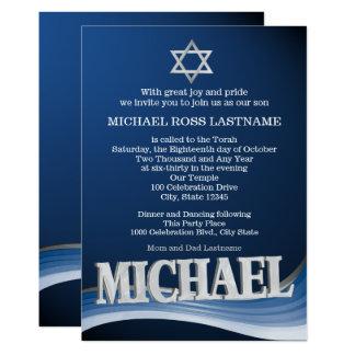 Cartão Bar de aço Mitzvah do nome da onda de Michael
