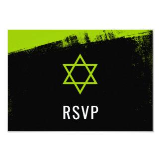 Cartão Bar Mitzvah RSVP do preto do verde limão do Grunge