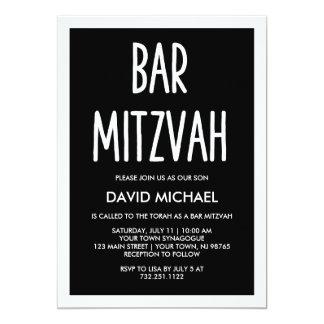 Cartão Bar | moderno preto e branco Mitzvah da tipografia