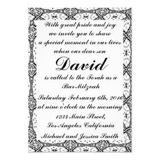 Cartão Bar preto Mitzvah das flores/convite do
