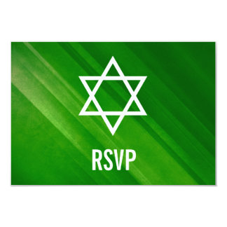 Cartão Bar verde moderno Mitzvah RSVP do Grunge