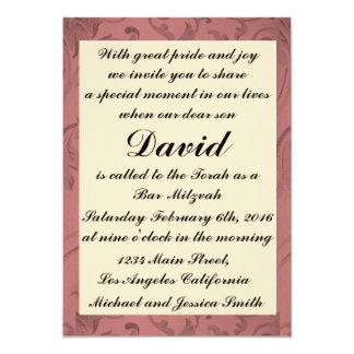 Cartão Bar vermelho Mitzvah do quadro das flores/convite