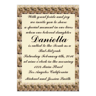 Cartão Bastão de creme Mitzvah das tulipas/convite do