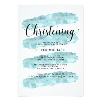 Cartão Batismo abstrato da aguarela das listras | do azul