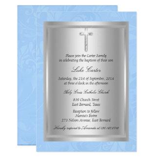Cartão Batismo azul transversal de prata do baptismo