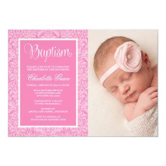 Cartão Batismo cor-de-rosa elegante do baptismo da foto