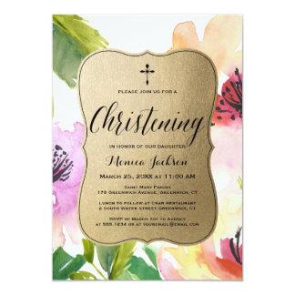 Cartão Batismo elegante do ouro | das flores
