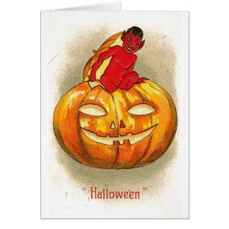 Cartão Bebê do diabo da abóbora do Dia das Bruxas