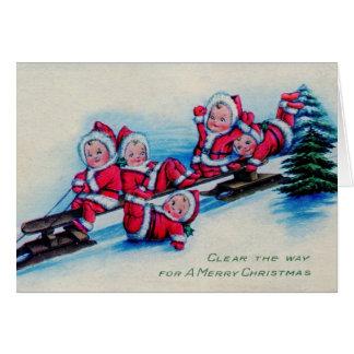 Cartão Bebês do natal vintage